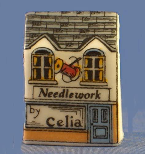 Porcelain China Collectable Thimble - Miniature House Shape - Needlework Shop