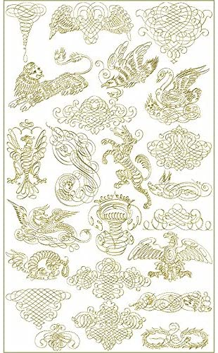 ABC Machine Embroidery Designs Set - Heraldic Gold - 23 Designs, 5x7 Hoop