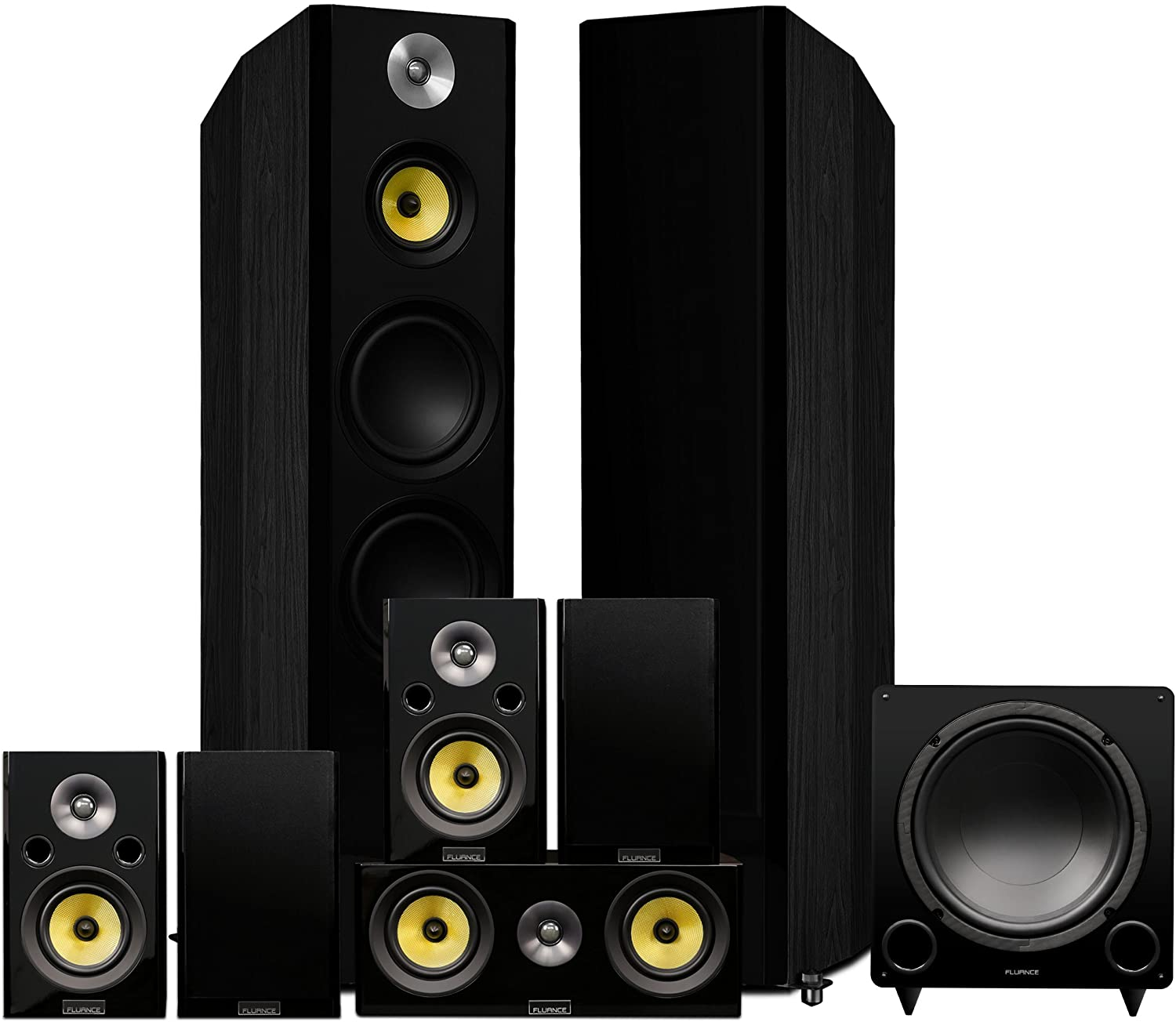 Fluance Signature Series Surround Sound Home Theater 7.1 Channel Speaker System Including Three-Way Floorstanding, Center, Surrounds & Rear Surrounds, and DB12 Subwoofer - Black Ash (HF71BR)