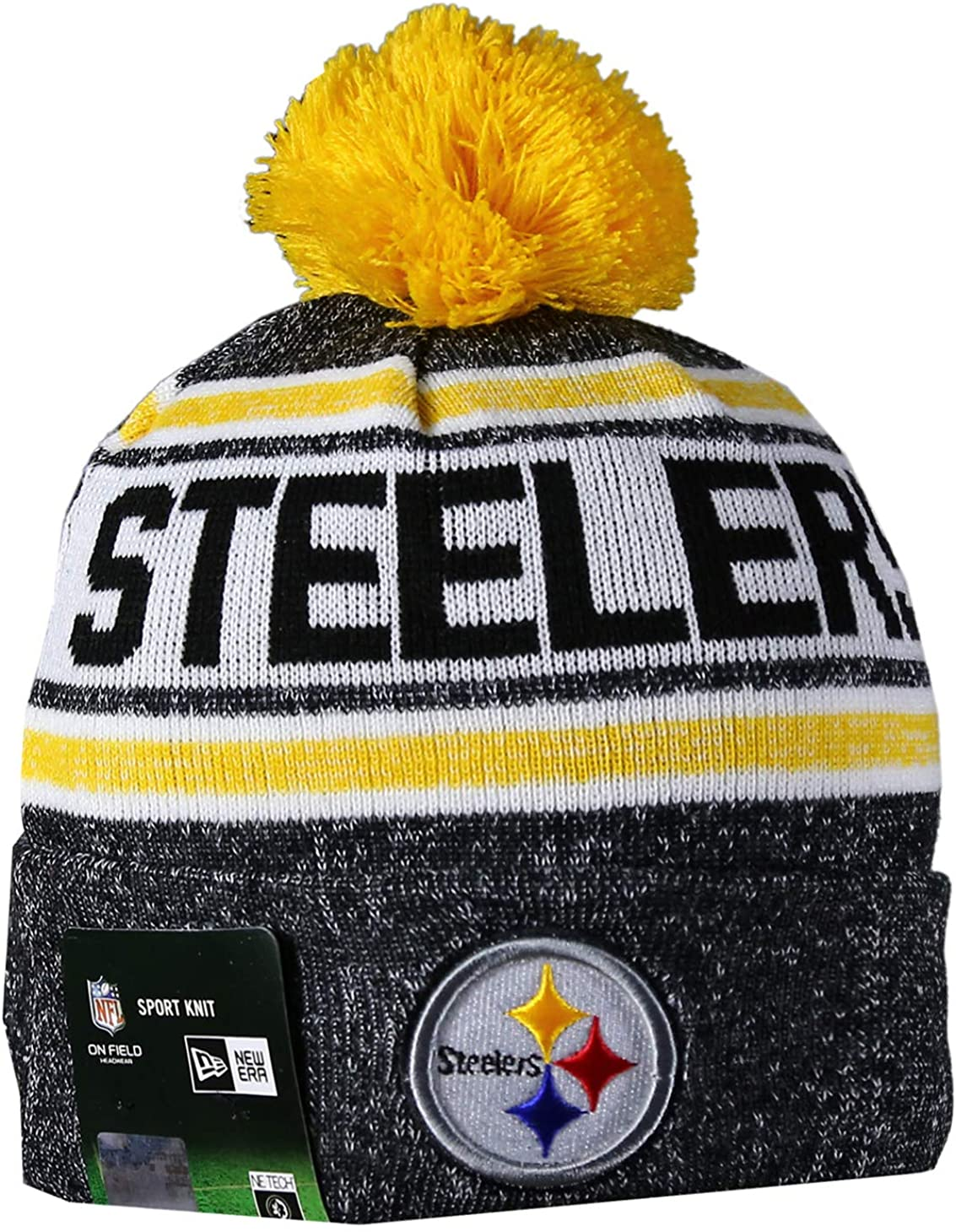 PIT STEELERS Sport Knit Winter Wool Warm Beanie Pom Hat Multicolour