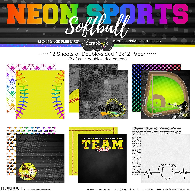 Scrapbook Customs Softball Neon Scrapbook Kit
