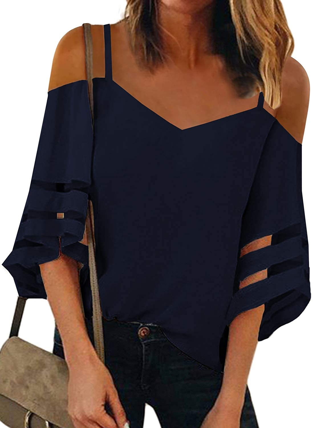 Blibea Womens Sexy Long Sleeve Tops V-Neck Cold Shoulder Mesh Insert Spaghetti Strap Blouses Chiffon Casual T Shirt Tees Large Blue