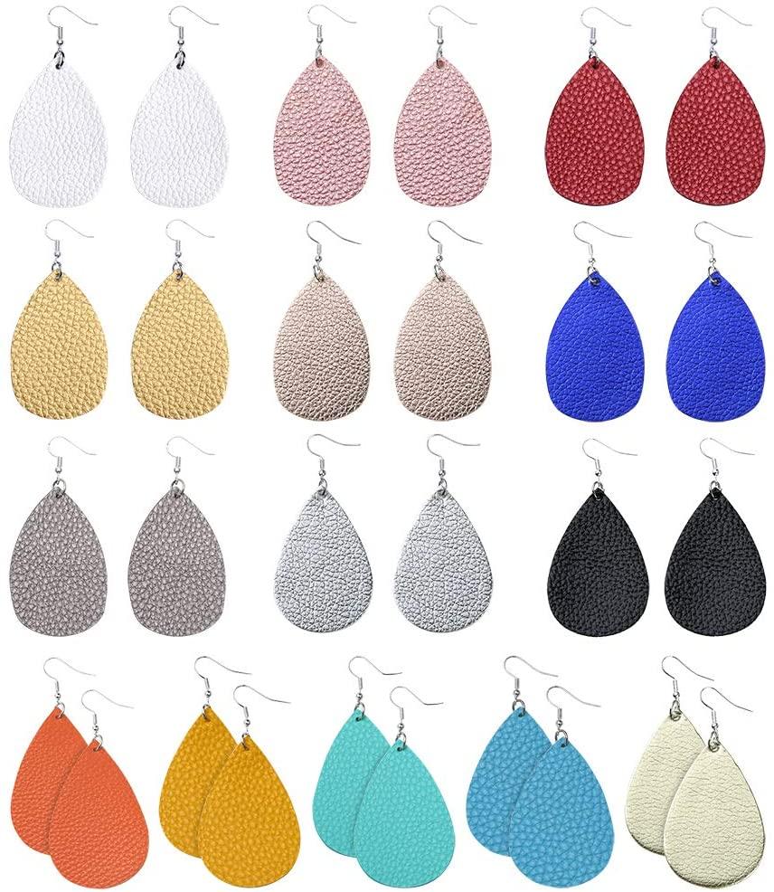 Sntieecr 14 Pairs Faux Leather Earrings Lightweight Teardrop Petal Drop Earrings Long Dangle Earrings Leaf Handmade Leather Earrings Gift Set for Women