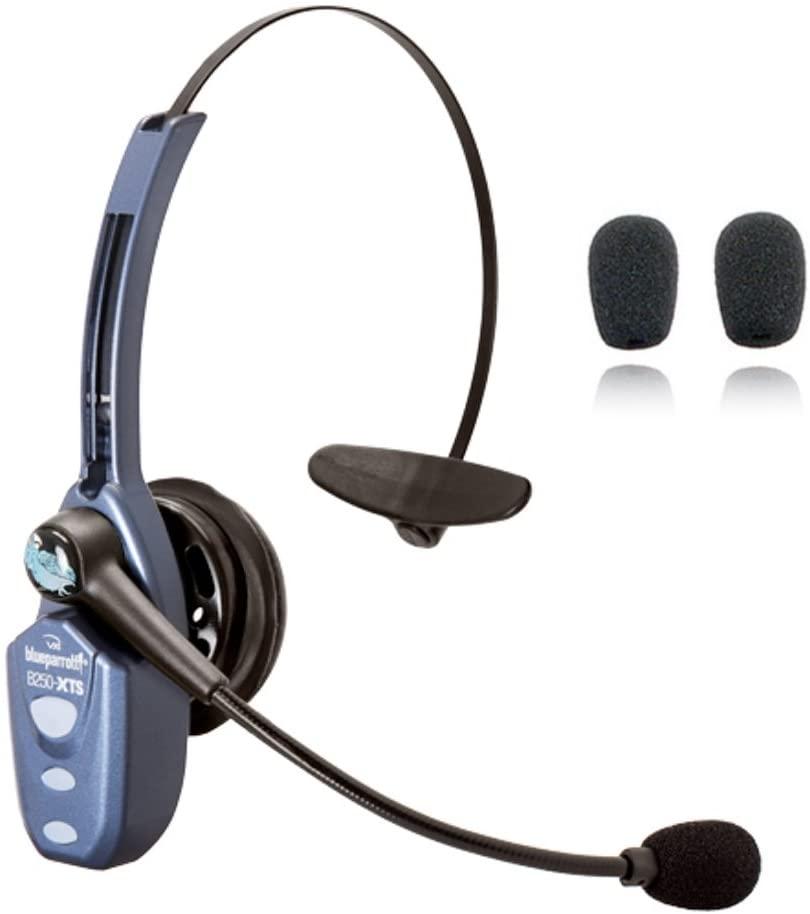 VXi Blueparrott B250-XTS Bluetooth Headset Bundle -203890   Bonus Microphone Cushions   NFC Enabled   Windows PC and MAC Compatible - (B250-XTS w/Bonus Cushions)