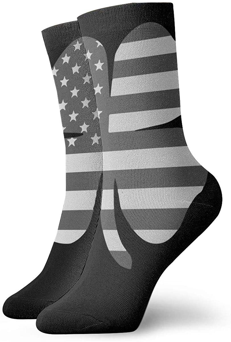 Clover Black American Flag Short Crew Socks Athletic Tube Socks For Men Women