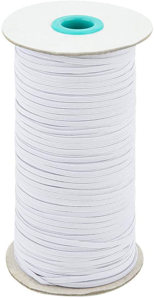 Beautyflier 180 Yard Length 0.1 Inch Width Black Elastic Band/Braided Elastic Straps/Elastic Rope/Bungee for Sewing Craft DIY Mask Cuff (White)