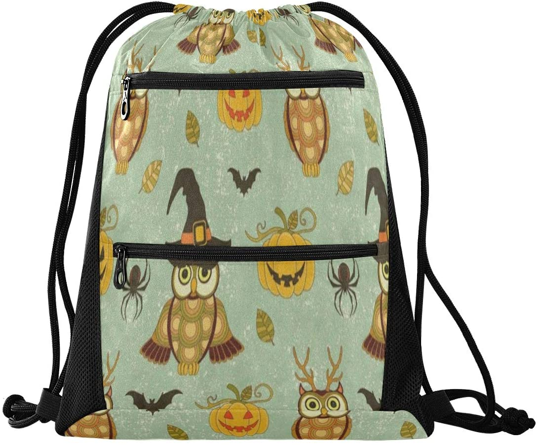 N /A Drawstring Backpack Bag for Men Women with Pockets for Teen Boys Girls Vintage Fall Pumpkin Thanksgiving