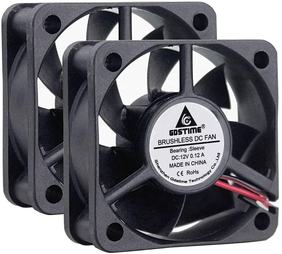 GDSTIME 2 Pack 50mm x 50mm x 20mm 12V DC Brushless Cooling Fan