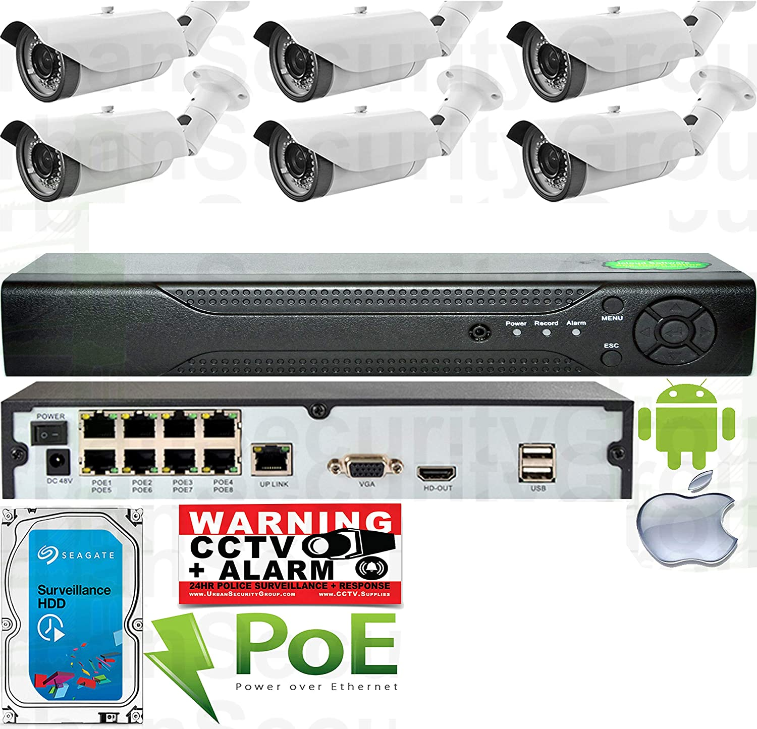 USG 6 Camera Motorized Lens Remote Zoom & Auto-Focus IP PoE Security System CCTV Kit : 6X 1080p 2mp 2.8-12mm Bullet Cameras + 1x 8 Channel 1080P PoE NVR + 1x 4TB HDD : Remote Viewing