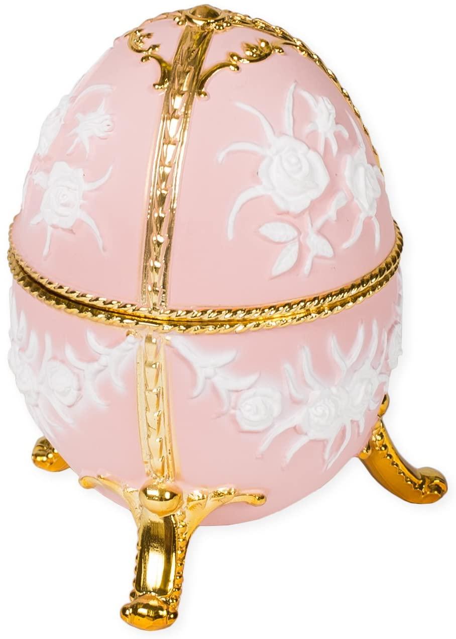 Matte Pink Filigree Faberge Egg Shaped Metal Musical Figurine Plays Ode to Joy
