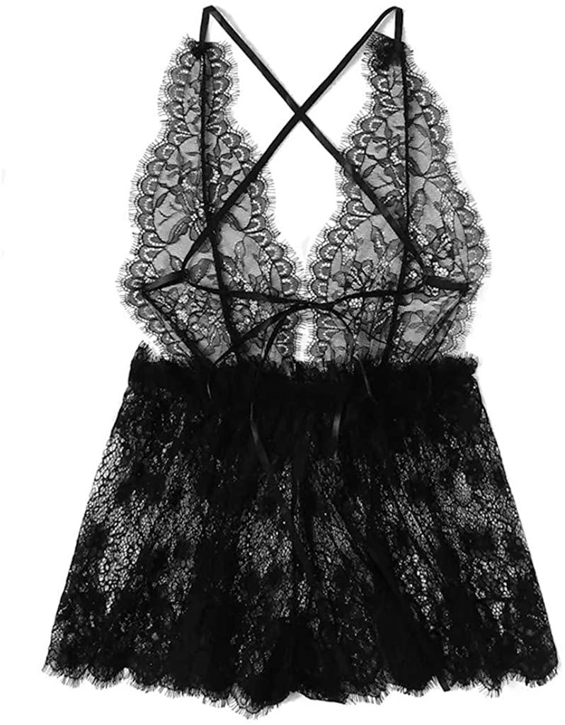 Chanyuhui Women Sexy Deep V-Neck Lace Lingerie Backless Teddy Jumpsuit Sleepwear One Piece Babydoll Mini Bodysuit