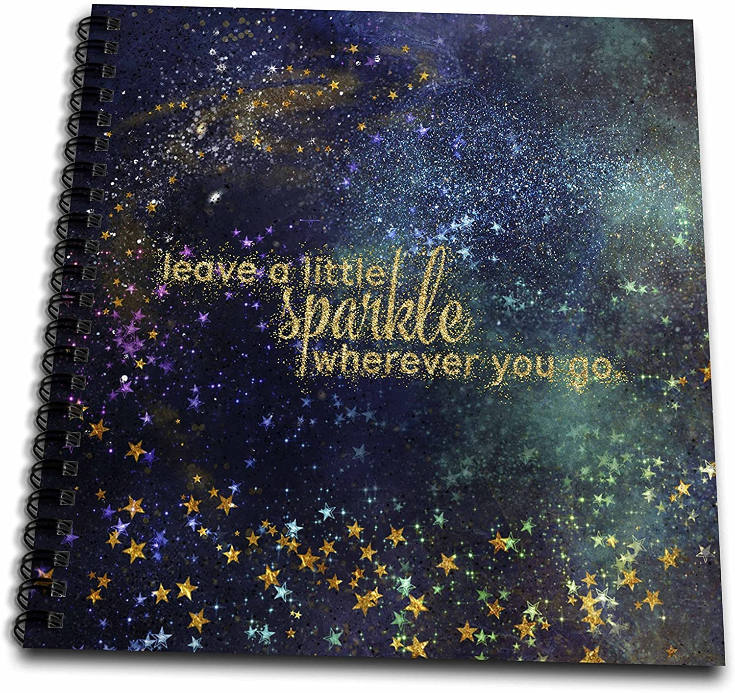 3D Rose Night Gold Typography Stars Glitter Sparkle Drawing Book