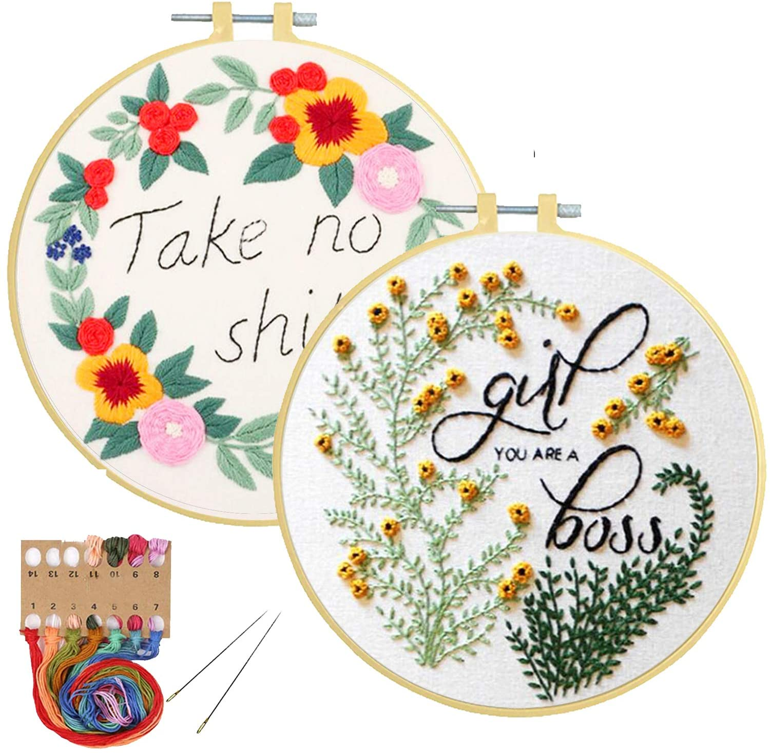 2 Pack Embroidery Kits with Pattern for Beginners Adults, Pinkol Cross Stitch Kits Stamped Needlepoint with Embroidery Hoops Cloth Fabric Thread