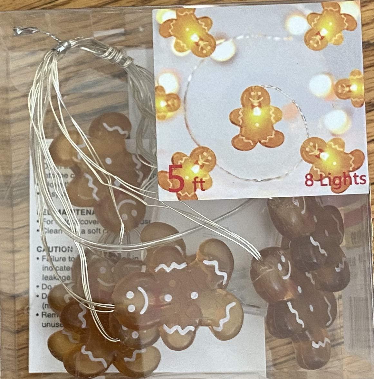 Dis Manor Lane Gingerbread Man Ginger Bread Christmas Holidays Winter 1.5 M 8 Shimmer String Lights 5 Feet