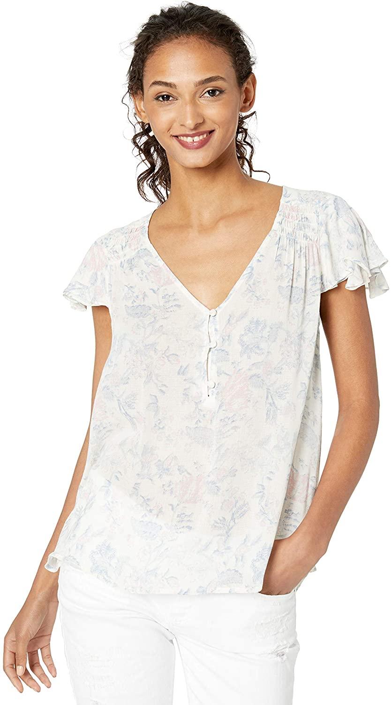 Lucky Brand Women's Printed V Neck Flutter Sleeve Shirt