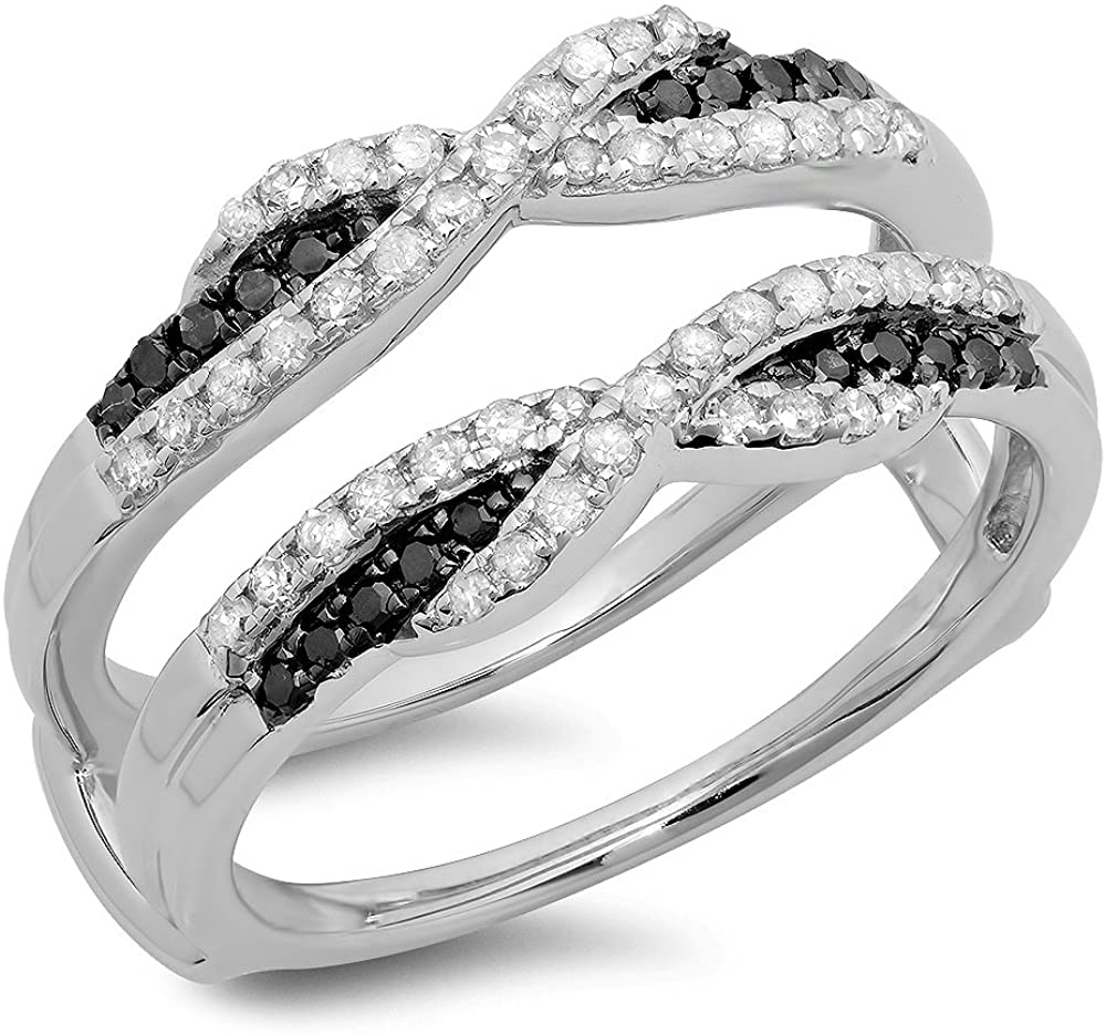 0.50 Carat (ctw) 14K Gold Black & White Diamond Ladies Swirl Wedding Enhancer Guard Double Band 1/2 CT