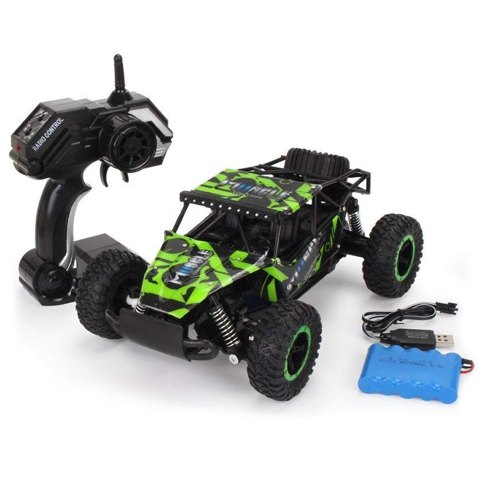 Kikioo Hight Speed RC Cars 1/16 4WD 2.4G Remote Control Graffiti Car Bigfoot Drift Racing Crawler Buggy Climbing Monster Truck Alloy Off-Road Vehicle Birthday Gift for Kids Adults (Size : 1 Battery)