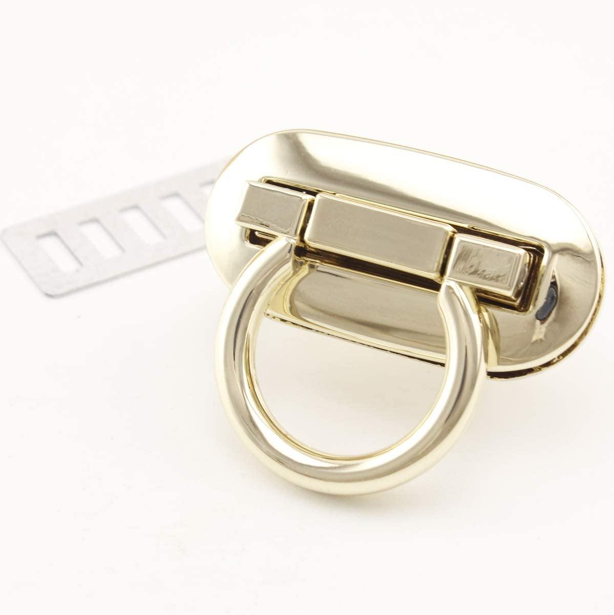 4.2cm x 2.1cm Oval Shape Zinc Alloy Turn Lock Purse Lock for Handbag Purse Bag Making 1 Set per lot Light Gold N73