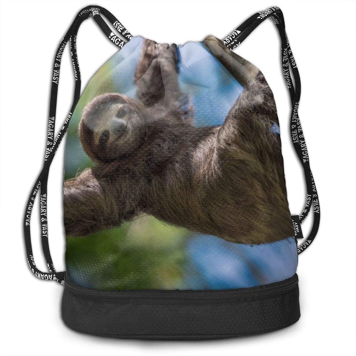 Bundle Backpacks Happy Sloth Gym Sack Drawstring Bags Casual Daypack Yoga Bag School Training Pouch