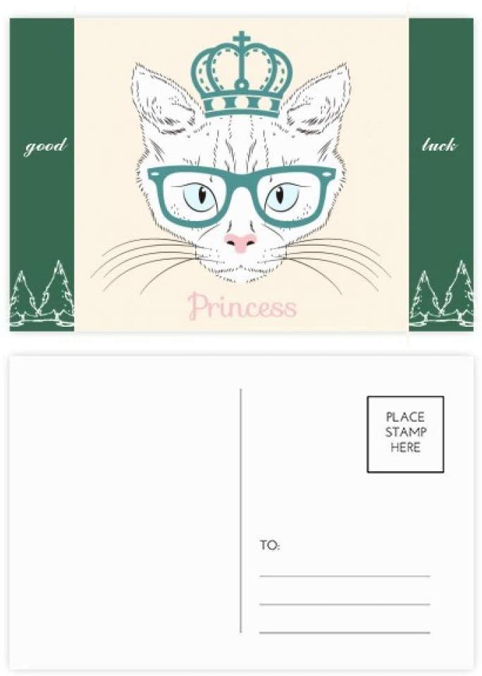 Crown Sunglass White Cat Princess Good Luck Postcard Set Card Mailing Side 20pcs