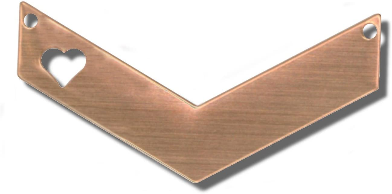 RMP Stamping Blanks, 1-1/4 Inch x 1/2 Inch Chevron with 1/4 Inch Left Side Heart and Two Holes, 16 Oz. Copper 0.021 Inch (24 Ga.) - 10 Pack