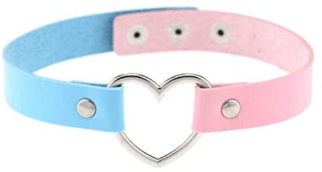 DNHCLL Girls New Fashion Cool Anime Rock Punk Harajuku Goth Love Heart Necklace Leather Collar PU Leather Necklace Chain Bracelet(Pink+Blue)