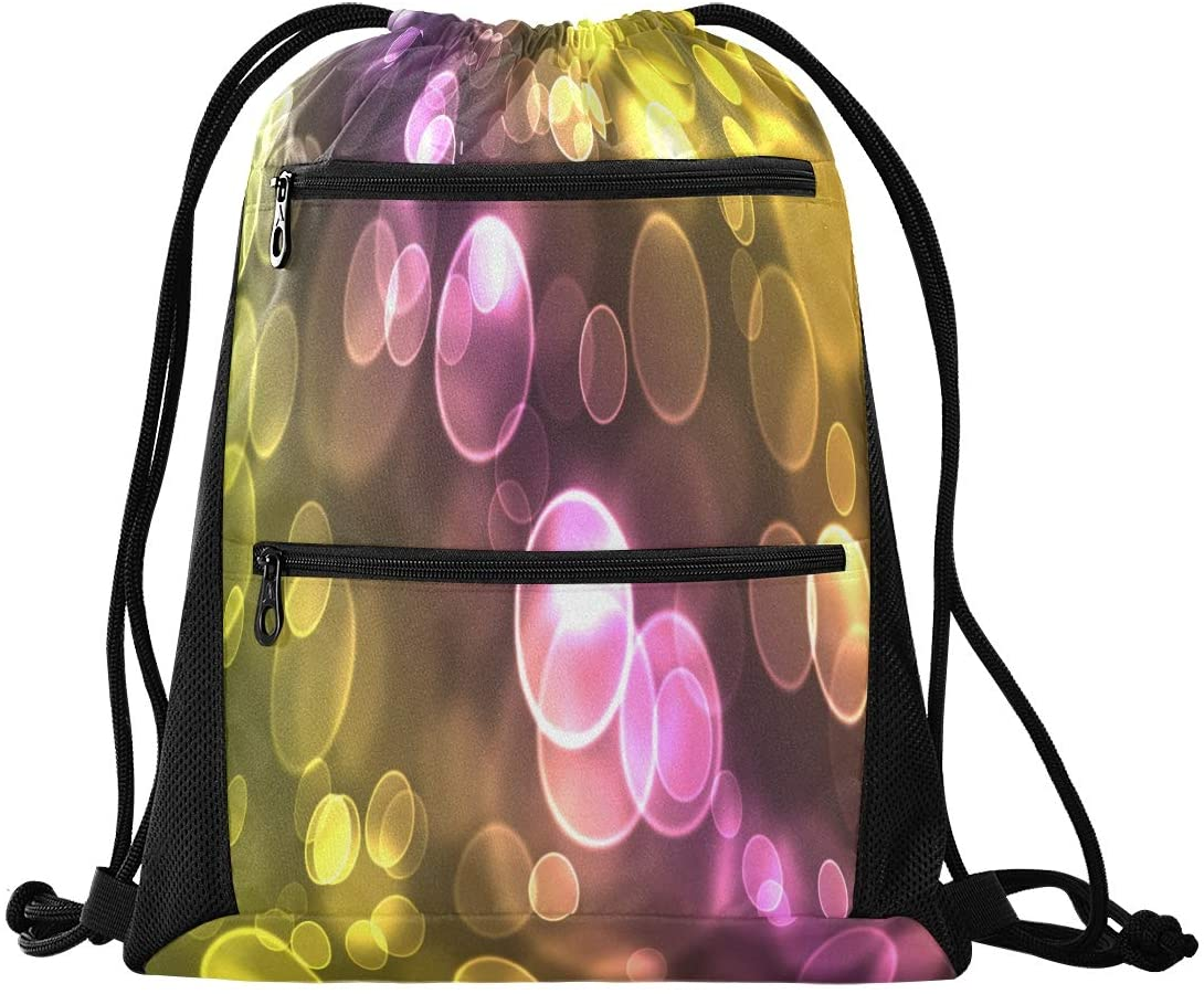 N /A Drawstring Backpack Bag for Men Women with Pockets for Teen Boys Girls Unique Forest Friends Mushroom Leaves