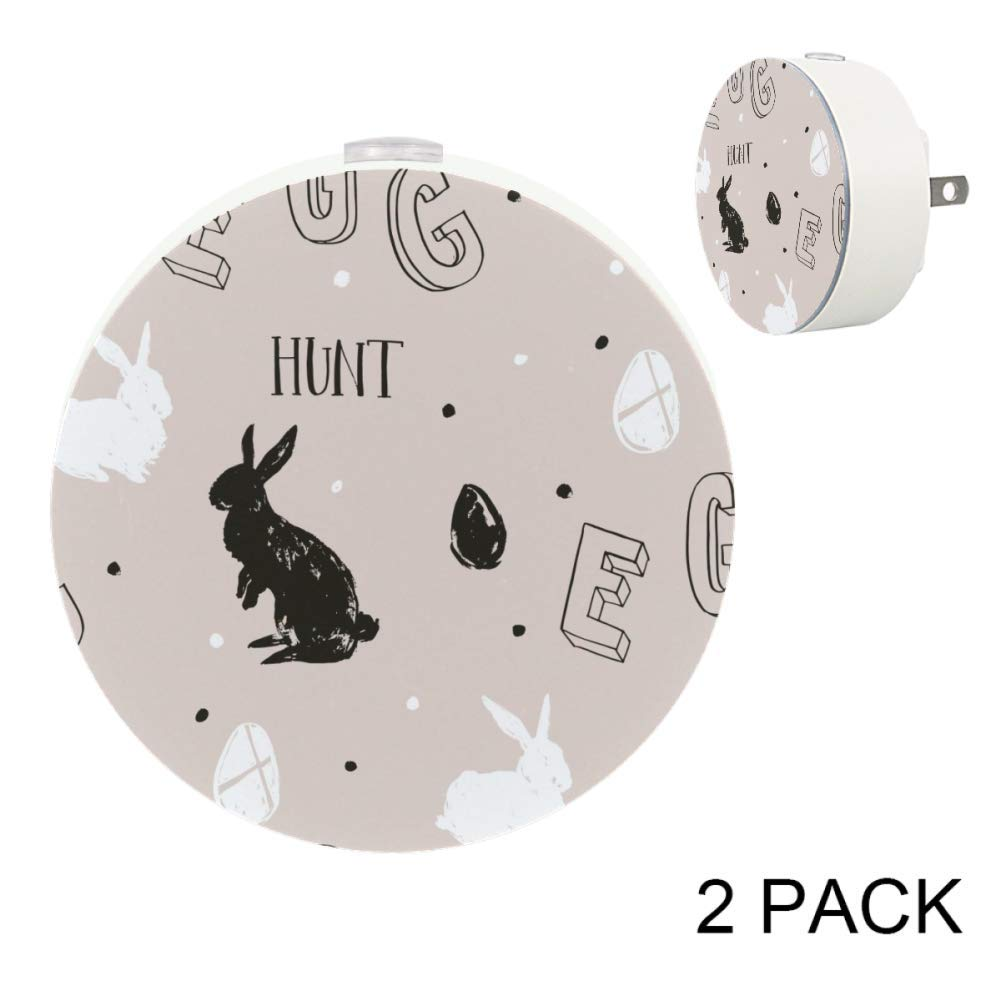 Black Rabbit Hunt Easter Egg Girls Auto On/Off Plug-in Night Lights for Stairways, Hallway, Entryway
