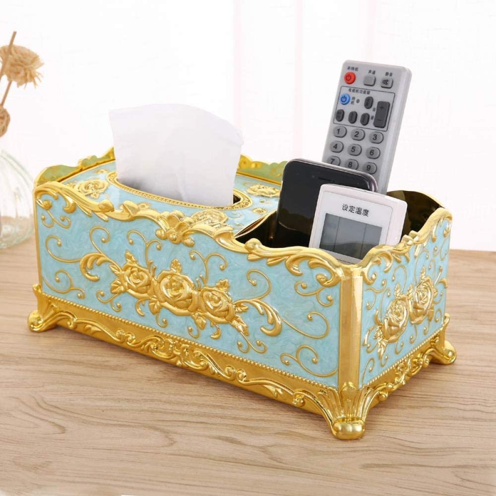 Casual home sports fashion Simple Creative Household Paper Drawing Nordic Tea Table Multifunctional Remote Control Receiving Box, Golden Blue Rose Multifunctional (New Upgrade)