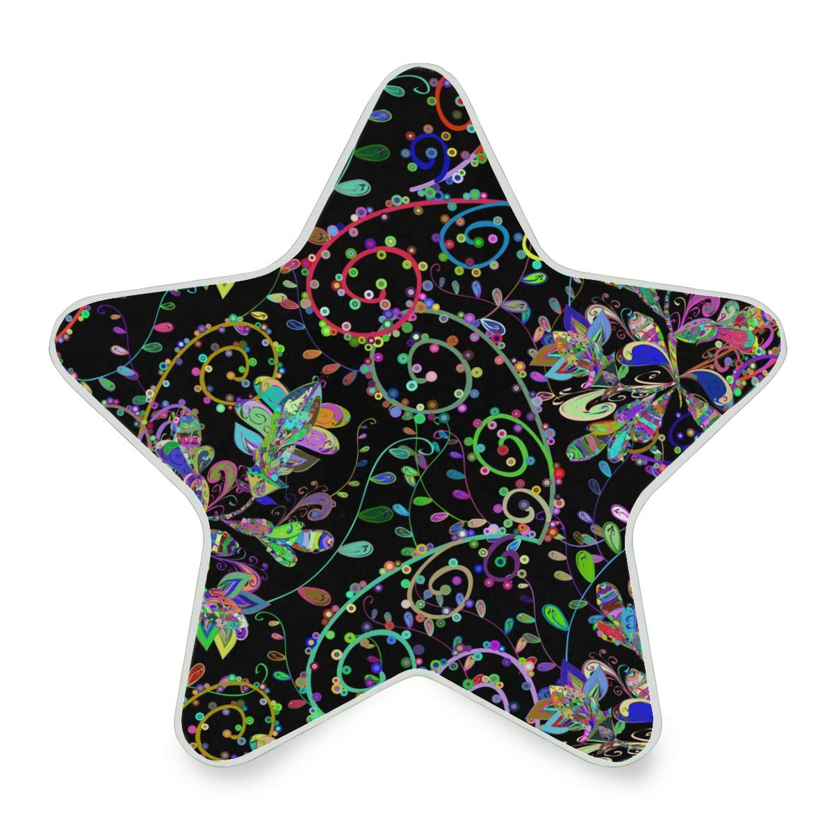 LED Night Light Seamless Texture On Black Background Nightlight Decorative Star Pentagram Shaped Plug in for Kids Baby Girls Boys Adults Room