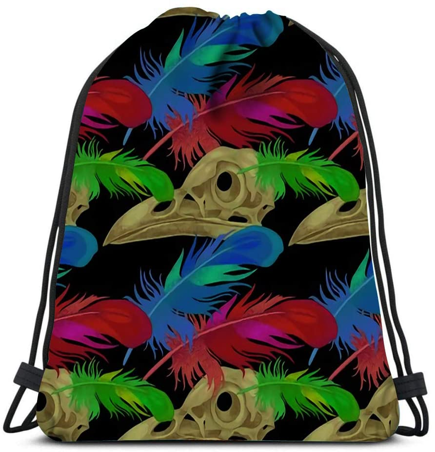 bneegxg Drawstring Backpack Bags Skulls and Raven Feathers The On Theme of Death Sports Travel Yoga Gymsack