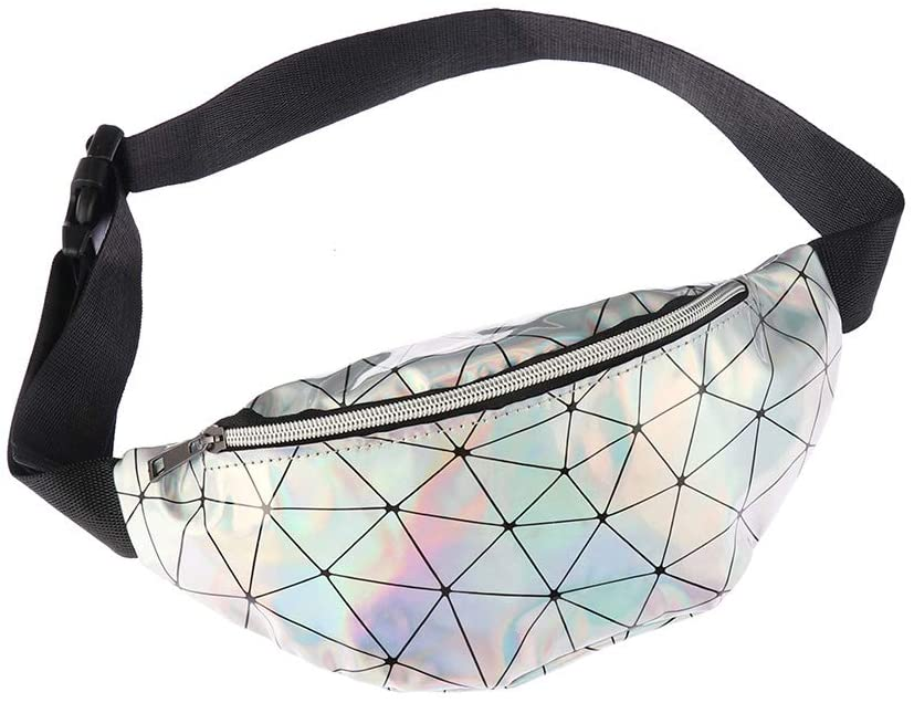 Women Geometric Waist Bag Diamond Lattice Fanny Pack Adjustable Belt Bag Bum Hip Bag for Festivals and Raves(Silver)