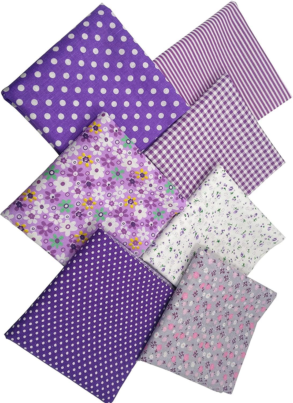 """levylisa 19.7"""" x 19.7"""" 7pcs Purple Floral Dot Stripe Cotton Fabric Fat Quarter Bundle Patchwork Quilting Fabric Sets Sewing Fabric Patchwork Flower Dots DIY Quilting Handmade Craft"""