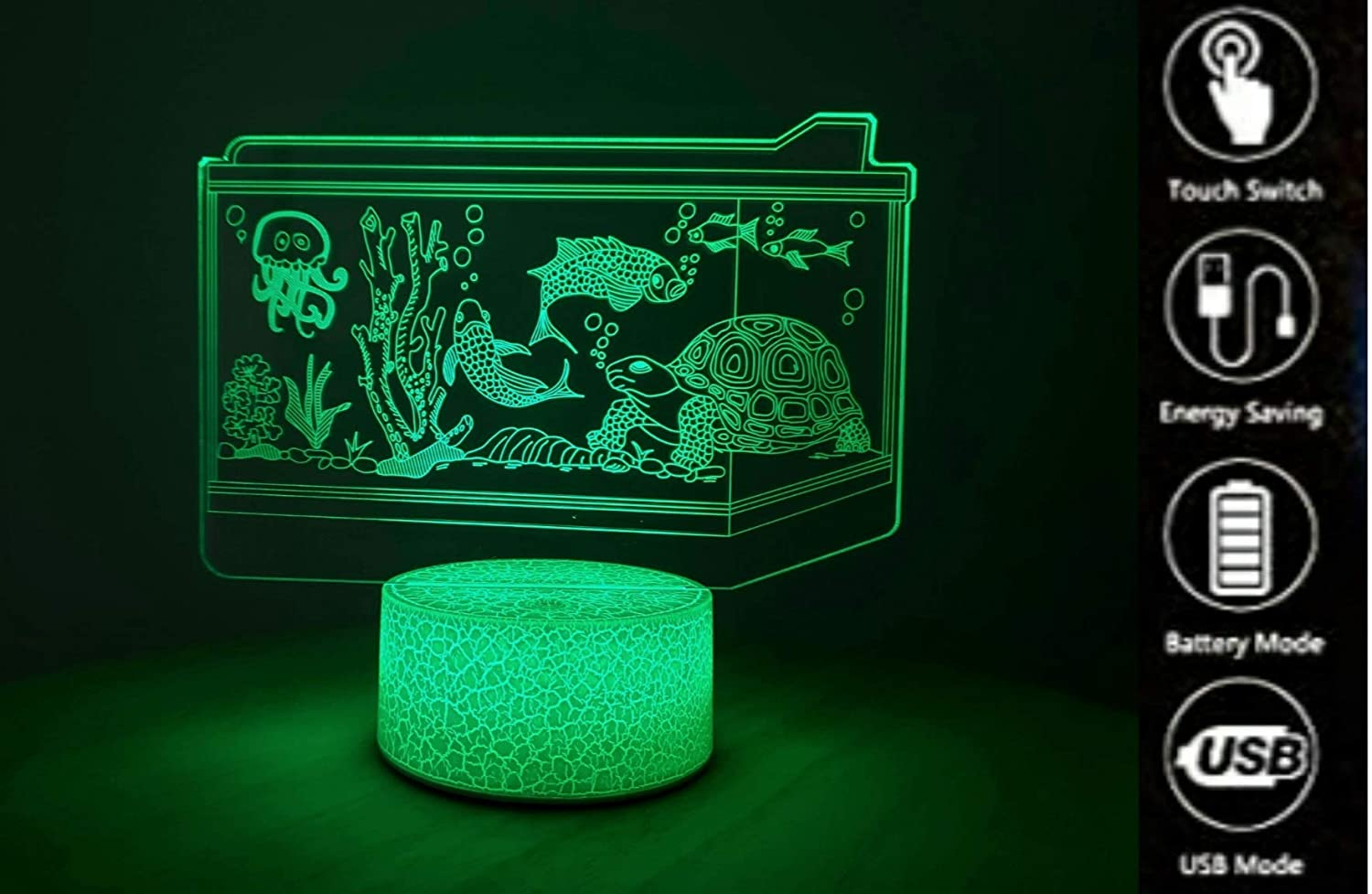 Zillion 3D Fish Tank Illusion lamp with Aquatic Ecosystem for Kids Bedroom. Best Gift for Boys, Girls Birthday. Plugin Night lamp for Children Room.