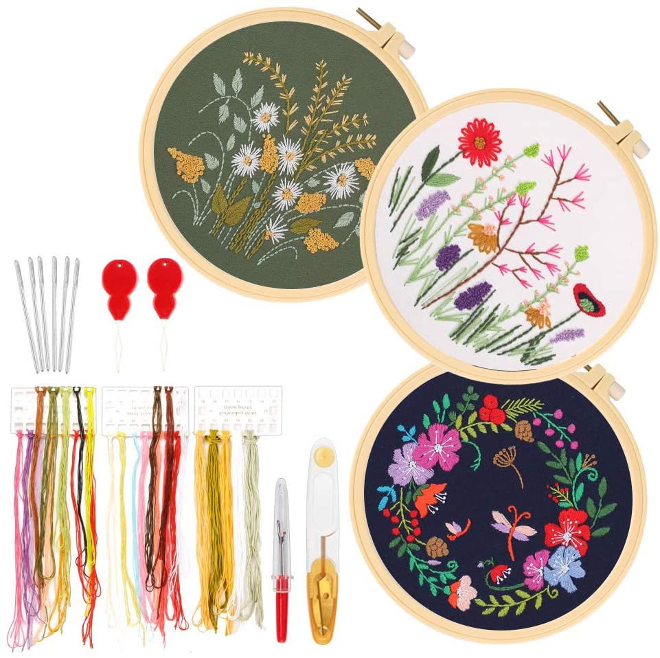 GIEMSON Embroidery Kit 3 Sets Full Range of Stamped Embroidery Starter Kits with 3 Embroidery Clothes with Floral Pattern, 3 Plastic Embroidery Hoops, Color Threads and Tools