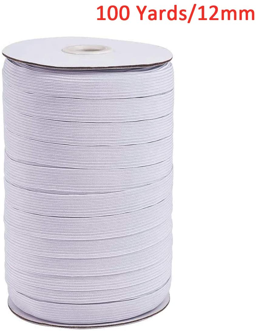"100 Yards Length 12mm Width Braided Elastic Band Heavy Stretch Knit Elastic Band for Sewing Crafts DIY, Mask Making, Bedspread, Cuff(Approx 1/2"" Width,White)"