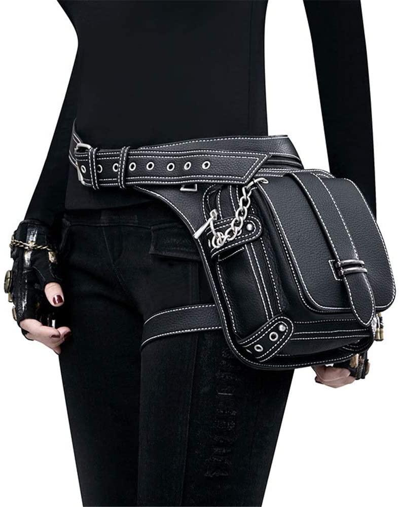 Monkibag-WW Women's Waist Bag Steampunk Bag Steam Punk Retro Rock Gothic Goth Shoulder Waist Bags Packs Victorian Style for Women Men Leg Thigh Holster Bag Leather Waist Packs