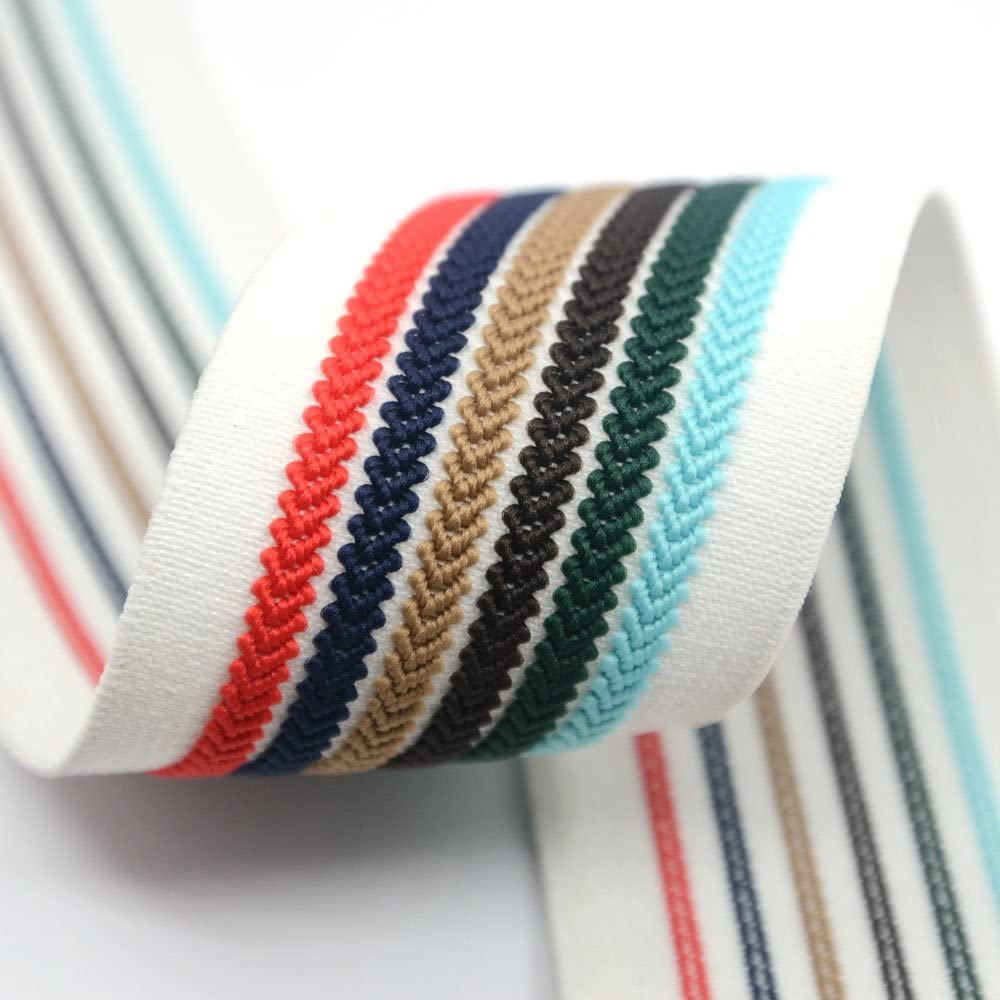 iCraft 2-inch Wide Colorful Striped Jacquard Elastic Bands By 2-yard, Waistband Elastic , Sewing Elastic 22040