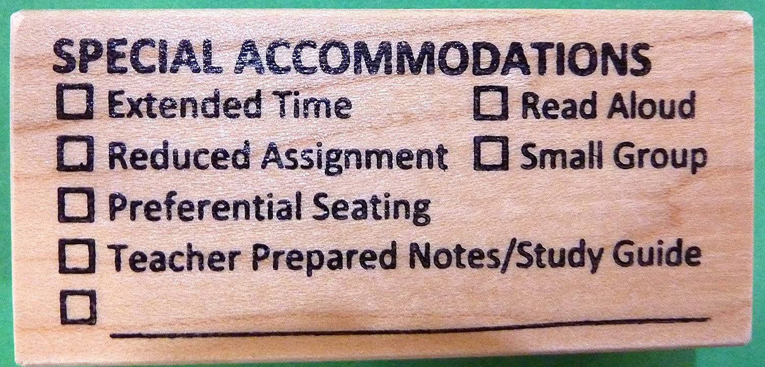 Special Accommodations, Teacher's Wood Mounted Rubber Stamp