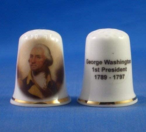 Porcelain China Collectable Thimble - George Washington 1st President USA - Free Gift Box