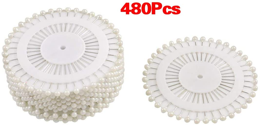 Clips HOT-480 pcs Pins Straight Pins Round Head Pins for Couture Wedding Decoration DIY Crafts - White - (Color: White)