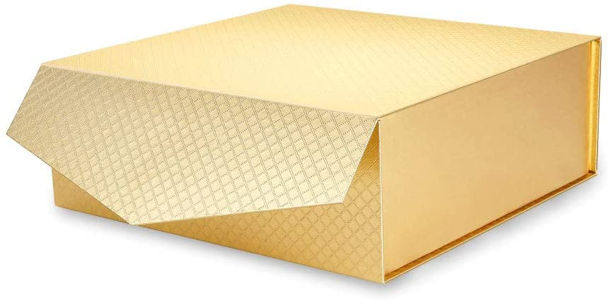 MALICPLUS Gift Box 9.5x9.5x3.5 Inches, Metallic Gold Gift Boxes with Lids, Bridesmaid Proposal Box, Square Gift Boxes Collapsible Magnetic Closure Gift Box (Grid Pattern)