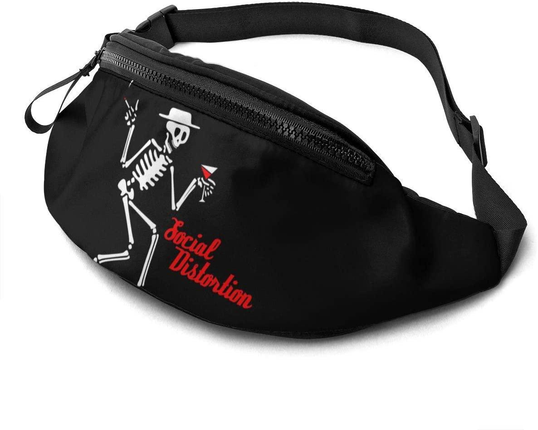 Social distortion Skeleton Fanny Pack for Men Women Waist Pack Bag with Headphone Jack and Zipper Pockets Adjustable Straps