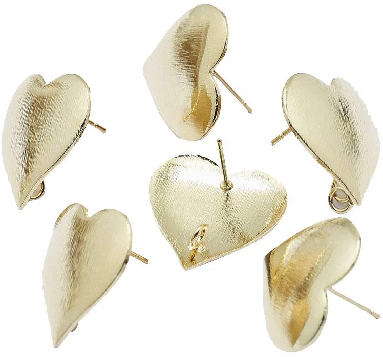 arricraft 30PCS Golden Earrings Posts Heart Earring with Loop Nickel Free Pin Studs Brass Stud Earring Findings for DIY Earring Making Supplies