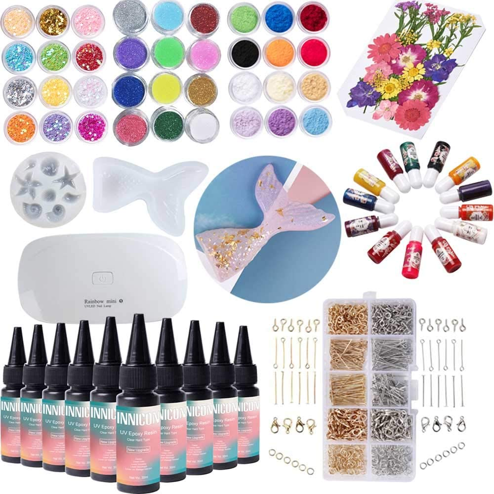 UV Resin Casting Glue Gel Tool Set, Glitter Colorant Pigment Dry Flower Mermaid Silicone Molds For DIY Making Pendants Earrings Bracelets Crafts Making, Clear, 300ml Non-Toxic, with Mini Lamp