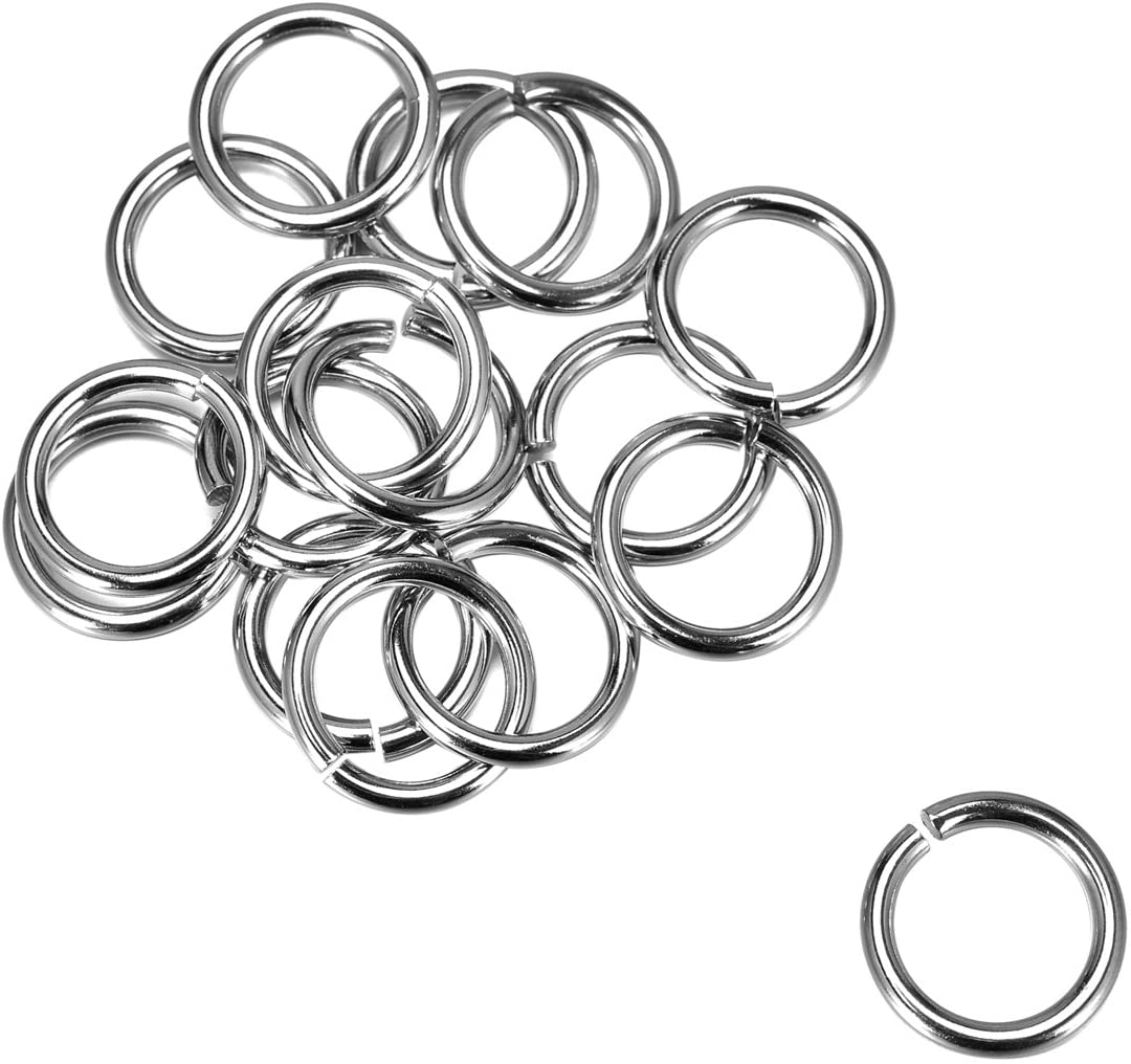 YF 100PCs Silver Tone Stainless Steel Open Jump Rings Connectors for Jewelry Making Findings 15mmx2mm
