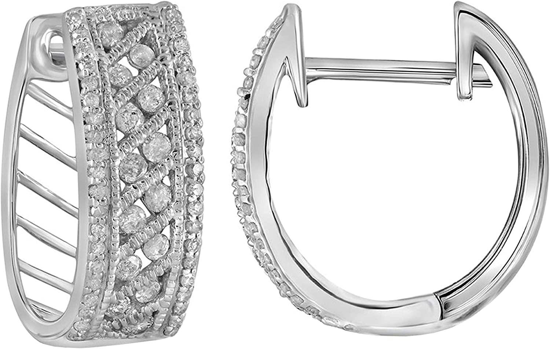 Dazzlingrock Collection 0.26 Carat (ctw) Round Diamond Ladies Hoop Earrings 5/8 ctw, 10K White Gold