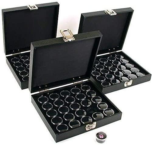 75 Gem Jars Black Display Tray Gemstone Travel Case