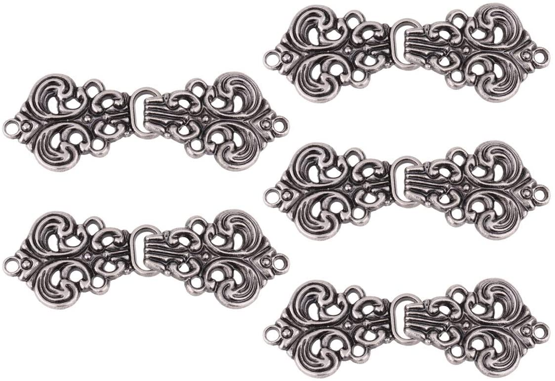 iiniim 5 Pairs Fashion Decorative Swirl Flower Cape or Cloak Clasp Fasteners Sew On Hooks and Eyes Cardigan Clip Type A Light Black One Size