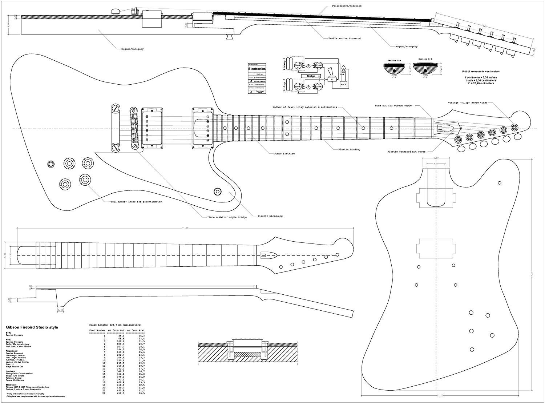 Set of 3 Gibson electric Guitar PLANS - Explorer, Firebird Studio, Flying-V BUY ONLY FROM SPIRIT FLUTES -